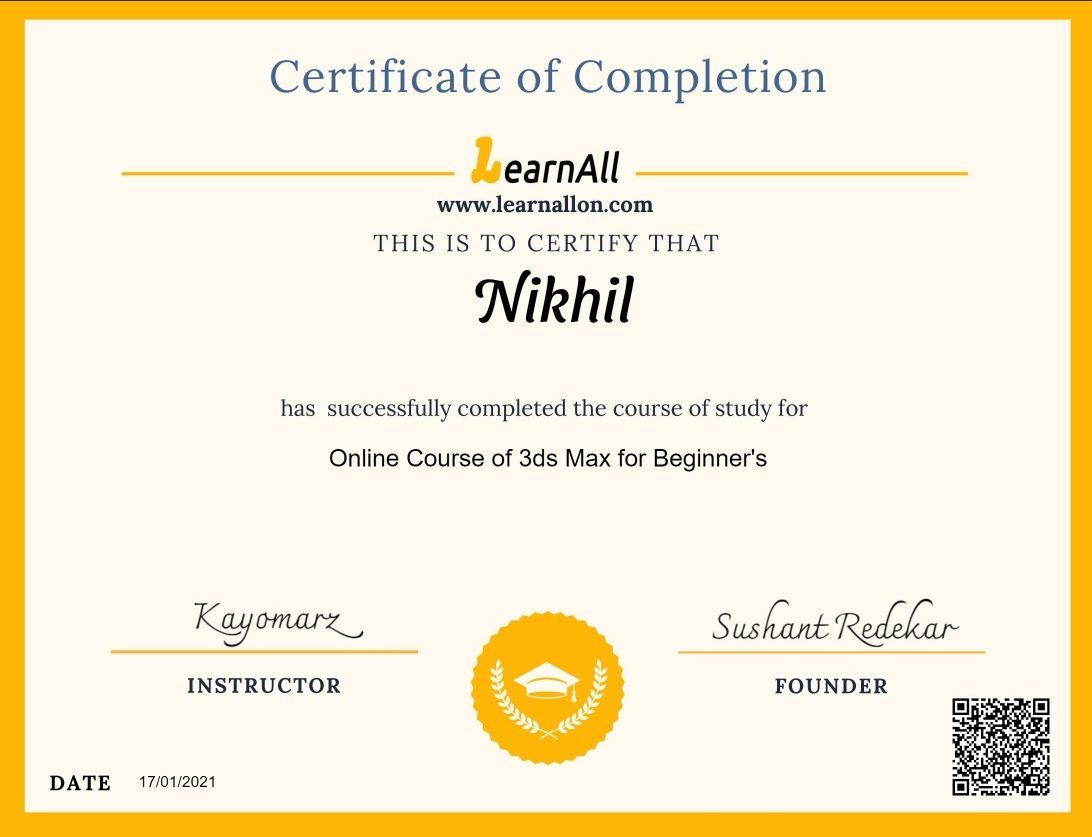 LearnAll Certificate 3D Designing